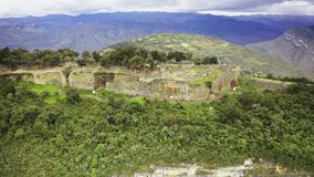 Aerial shot of Kuelap, Peru. Flying around the chachapoyan fortification of Kuelap stock footage