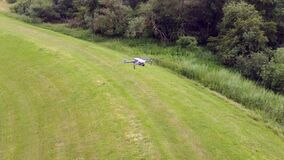 Flying around a hovering drone