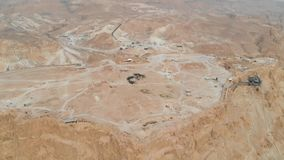 Flying around Masada fortress area Southern District of Israel Dead Sea area Southern District of Israel. Ancient Jewish. Fortress of the Roman Empire on top of stock footage