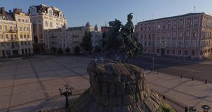 Flying around  Monument to Cossack's commander Bogdan Khmelnitsky . Aerial stock footage