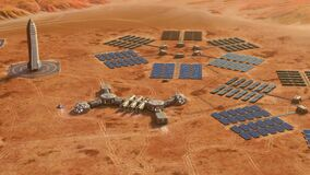 Flying around a small Martian base equipped with two rovers, day view. 4k animation