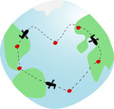 Travelling around the world. World globe: airplanes flying in heartshaped track around world Stock Photography
