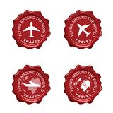 Flying around the world on red seal wax illustration Royalty Free Stock Photo