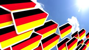 Flying arrows with german flag heading towards the sun. Flying arrows with the german flag heading towards the sun germany first concept 3D illustration Stock Image