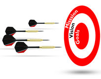 Flying arrows to a target suggesting achievement concept Stock Photos