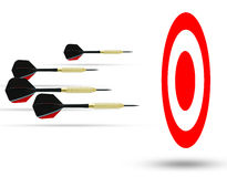 Flying arrows to a target suggesting achievement concept Royalty Free Stock Photography