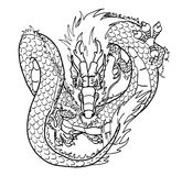 Flying Asian dragon black contour on white. Flying Asian Chinese dragon black contour line on white background Royalty Free Stock Images