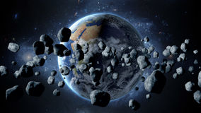 Flying asteroid, meteorite to Earth. outer space. Armageddon. 3d rendering. Flying asteroid, meteorite to Earth. outer space. Armageddon 3d rendering Royalty Free Stock Images