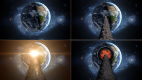 Flying asteroid, meteorite to Earth. outer space. Armageddon. 3d rendering Royalty Free Stock Photos
