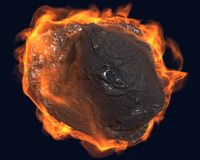 Flying asteroid. Asteroid of stone and metal flying straight at the viewer. enveloped in fire Royalty Free Stock Photos