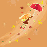 Flying autumn girl. Little girl flying over the wind and autumn leaves royalty free illustration