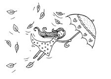 Flying autumn girl. Sketchy style royalty free illustration