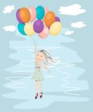 Flying away with ballons Royalty Free Stock Photos
