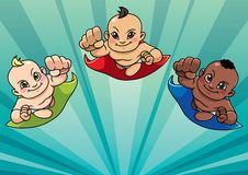 Flying Babies Background. Cartoon background with three flying super babies and copy space for your text stock illustration