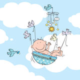 Flying baby boy Royalty Free Stock Images
