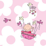 Flying baby girl. Vector illustration of newborn baby girl carried by birds Stock Images