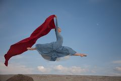 Flying ballerina Stock Images