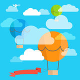 Flying ballon with the banner Stock Photography