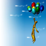 Flying with ballons Royalty Free Stock Images