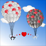 Flying balloon  with cute cats Royalty Free Stock Images