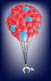 Flying balloon  with cute dog Royalty Free Stock Photo