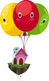 Flying balloon house vector Royalty Free Stock Images