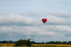 Flying a balloon in the shape of a heart