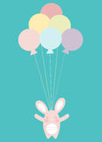 Flying Balloons. Illustration of a cute bunny flying with baloons Stock Illustration