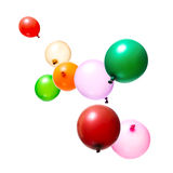 Flying Balloons. Color flying balloons isolated on white Stock Images