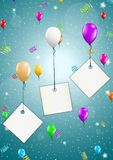 Flying balloons with blank papers. Color flying balloons with empty paper ready for your text on festive blue background Royalty Free Stock Photography