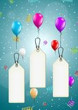 Flying balloons with blank price tag. Color flying balloons with empty price tag ready for your text on festive blue background Royalty Free Stock Photography