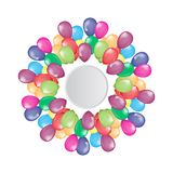 Flying balloons border with circle empty space for your text or design. Illustrated vector Royalty Free Stock Photo