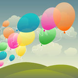 Flying balloons. Bunch of colorful flying balloons Royalty Free Stock Photo