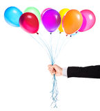 Flying balloons with Businessman hand Royalty Free Stock Photo