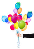 Flying balloons with Businessman hand Royalty Free Stock Photos