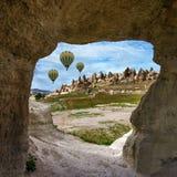 Flying balloons in Cappadocia, Turkey. Royalty Free Stock Images