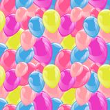 Flying balloons colorful seamless pattern background. Beautiful colorful illustration. Ideal for paper or fabric, birthday party designs Royalty Free Stock Image