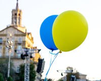Flying balloons with colors of flag of Ukraine Stock Images