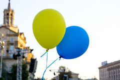 Flying balloons with colors of flag of Ukraine Royalty Free Stock Photography