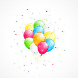 Flying balloons and confetti. Holiday background with flying colorful balloons and confetti, illustration Royalty Free Stock Photo