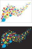 Flying balloons and flowers, black background. Vector Stock Photo