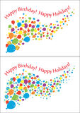 Flying balloons, flowers and gifts with inscriptions. Vector Stock Image
