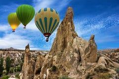 Flying balloons in Goreme, Cappadocia, Turkey Stock Image