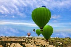Flying balloons in Goreme, Cappadocia, Turkey. Royalty Free Stock Photo