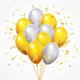 Flying balloons group. Golden shiny falling confetti, glossy yellow and white helium balloon with gold ribbon 3d vector. Flying balloons group. Golden shiny stock illustration