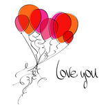 Flying balloons heart Royalty Free Stock Image