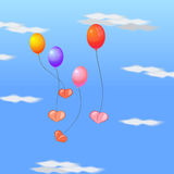 Flying balloons with hearts. This is file of EPS10 format Royalty Free Stock Photography