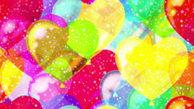 Flying balloons hearts, seamless loop. FullHD 1920x1080 Progressive Seamlessly Looping Video of Colorful Flying Up Heart Shaped Balloons and Gently Falling stock video footage