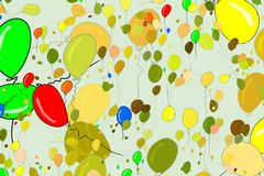 Flying balloons illustrations background abstract, hand drawn. Floating, wallpaper, set & color. Flying balloons illustrations background abstract, hand drawn stock illustration