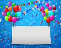 Flying balloons with paper and place for text blue background Royalty Free Stock Image